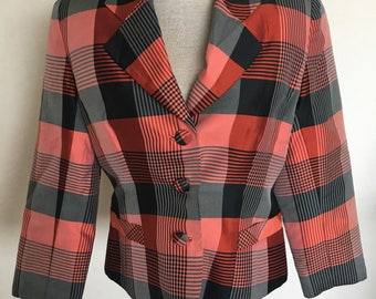 Vintage 1980s Peach Check Thai Silk Ladies Jacket - Size 10