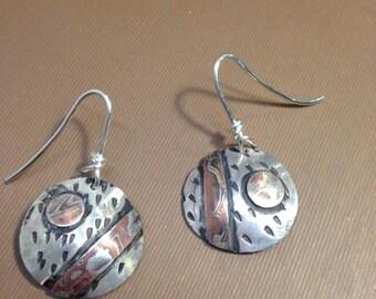 Mokume earrings silver and copper handmade  round earrings