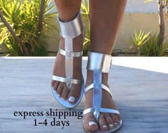 DANAE 4 sandals/ Greek leather sandals/ ankle cuff sandals/ ancient grecian sandals/ handmade thong sandals/ roman sandals/ silver sandals