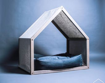 Modern dog house with a linen cover, Dog bed, Pet house, Pet bed, Pet furniture, Dog bed house, House bed