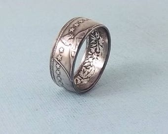 Christmas, Mother's Day Gift.  Silver coin ring Made from a Swiss 2 Franc  fine silver jewelry size 8 1/2