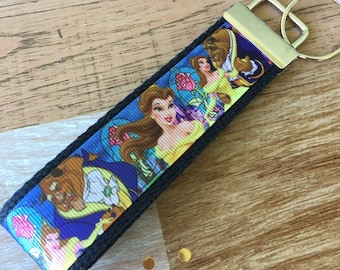 Beauty and the Beast Key Fob Wristlet / Key Chain