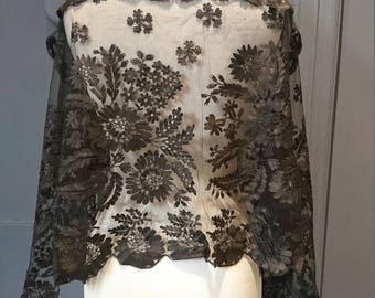 Antique Black Floral Tambour / Embroidered Lace Mourning Mantilla / Veil / Shawl
