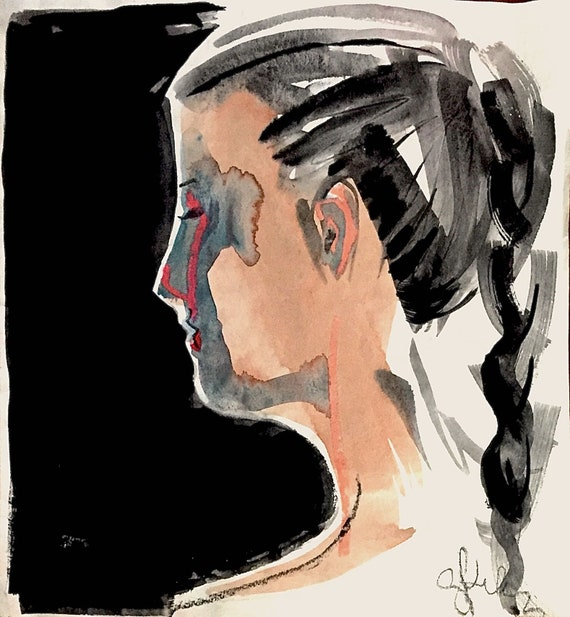 Into the Night portrait- original watercolor portrait painting by Gretchen Kelly