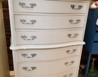SOLD vintage French Provincial Dresser Serpentine Tall Carved Wood Shabby Chic Cottage Chest Cabriole Legs Painted Furniture Customize