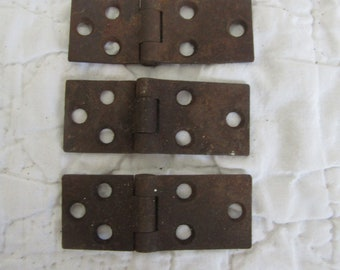 3 Vintage Hinges Matching lot Rusty