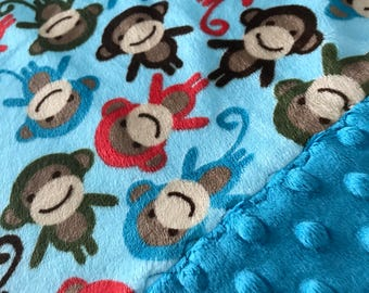 Travel Pillowcase - Multi Color Monkey Print Minky with Dark Turquoise Dimple Dot Minky Border - great for a Toddler or Travel Pillow