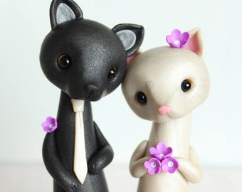 Love Cats, Cat Wedding Cake Topper - personalized animal clay figurine by Heartmade Cottage