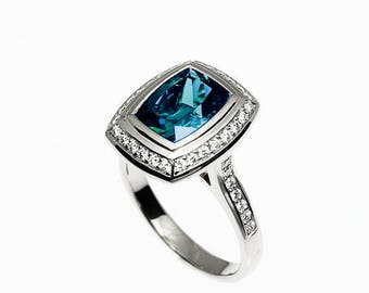 3.50ct Cushion cut London Blue topaz halo engagement ring with diamonds, platinum, Teal, diamond halo, blue, engagement ring, london blue