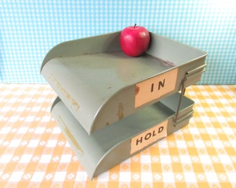 Metal Desk Tray - Globe Wernicke - Industrial Office - Adjustable - Paper Tray - In Out Box - 2 Tier - File Organizer - Mid Century - 1960's