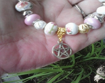Pagan Wiccan, flowers of spring, Euro style bracelet