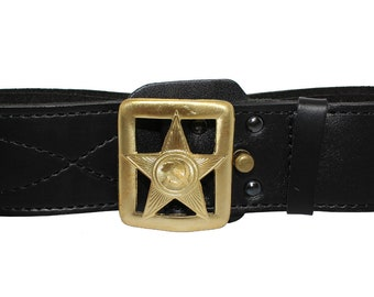 Russian military Officer leather belt with star buckle CA
