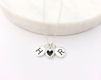 2 Silver Initial & Mini Heart Charm Necklace