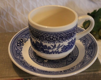 Blue Willow Tea or Coffee Cup with Matching Saucer made by Royal China Company