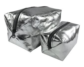 Washable paper cosmetic bag, washable paper bag, metallic, silver, makeup bag, MakeupBag, vegan leather, washable paper, beauty case