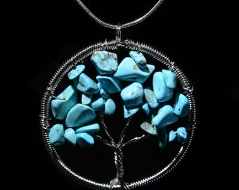 """TURQUOISE CRYSTALS Round Tree of Life Pendant Necklace with High-Quality 18"""" Silver Snake Chain or Black Cord--Your Choice!"""