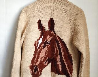 50s 60s handknit beige HORSE sweater