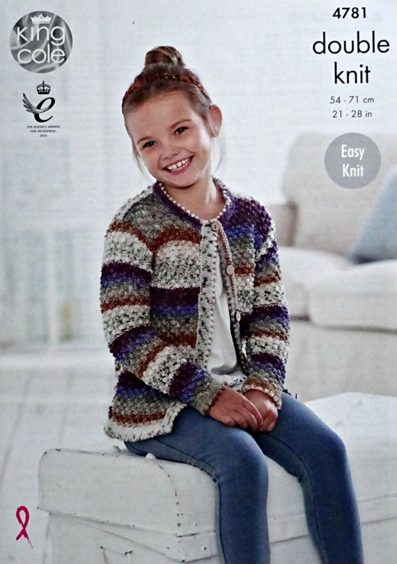Girls Knitting Pattern K4781 Girls Easy Knit Long Sleeve