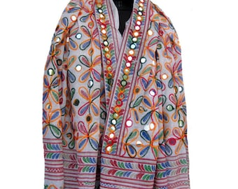 Embroidered scarf/ boho scarf/ multicolored scarf/ white scarf/ cotton scarf/ large scarf gift scarf / gift ideas.