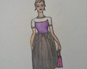 Modern girl- fashion illustration 9x12