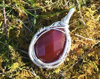 Dark Red Garnet Cabochon Pendant - Garnet Christmas Necklace - Faceted Teardrop Garnet Cab - Wire Wrapped Garnet - Elegant Bohemian Jewelry