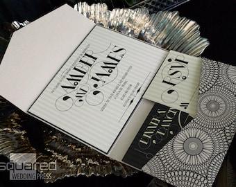 Art Deco Wedding Invitation - SAMPLE - Luxe Wedding Invitation - Wedding Invites, Custom Black & Champagne Gold - Bespoke Design LECLAIR