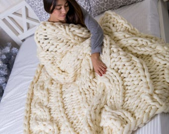 Chunky Cable Knit Blanket, Chunky knit Blanket, Cable knit blanket, Cable knit throw, Blanket, Throw, Merino Wool Blanket, Knitted Blanket
