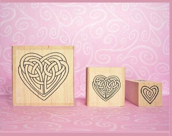 Celtic Heart Rubber Stamp Set with 3 Knotwork Designs Crafting Cards Wedding Engagement