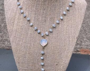 Gray beaded lariat necklace