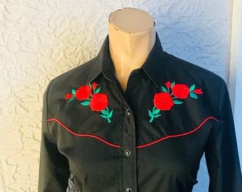 Vintage Black Rose Embroidered Western Shirt med.