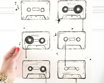 Cassette Tapes on paper.