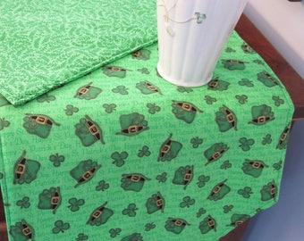 """72"""" St Patricks Day Table Runner Shamrock Table Runner Reversible Clovers Leprechaun Hat Table Runner Luck of the Irish table runner"""