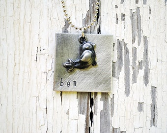 Square Metal Hand Stamped Necklace with Bird Charm