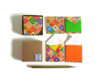 I Love You Mini Stationery Set - Blank Note Cards, Greetings Cards, Cute, Gifts Under 15, Love Expressions, Small Square Envelopes, Colorful