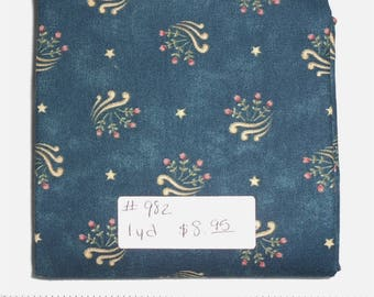 Fabric -  1yd piece- Deep Blue/Teal Gloria Floral Maywood Studios Reproduction Print  (#982) - patriotic stars, roses