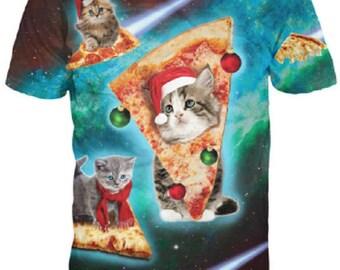 Christmas Pizza Space Kitten Cat Kitten 3D Printed T Shirt