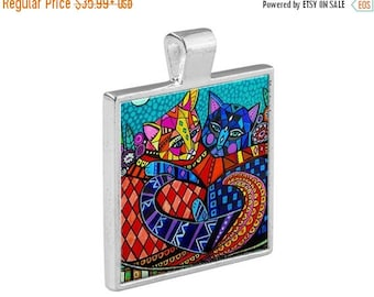50% SALE- Two Cats Hugging Folk Art Jewelry - Pendant Metal  Gift Art Heather Galler Gift-  Cat Lovers Abstract Modern Vegan Gifts