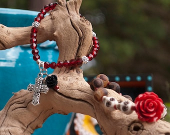 Day of the Dead Art, Halloween Bracelet, Sugar Skull Jewelry, Unique, BOHO Vintage, Frida Inspired, Black, Red, Natural Stone, Gothic