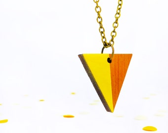 Geometric necklace | Triangle jewellery | Yellow accessories | Wooden necklace | Simple shape | Yellow necklace | Bright jewellery