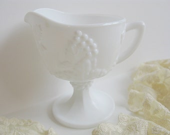 Pitcher Milk Glass White Vintage Indiana Glass Harvest Grapes Pattern Footed Pedestal Style Creamer Shabby Cottage Beach Decor