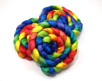 Merino Wool/ Silk Roving (50/50) (Combed Top) - Handpainted Fiber for Spinning or Felting