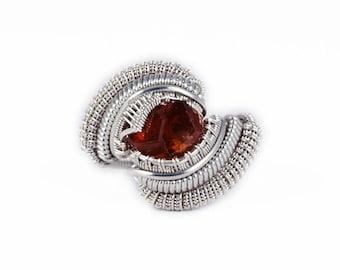 Size 8 - Vesper Peak Garnet, Sterling Silver Wire Wrapped Ring
