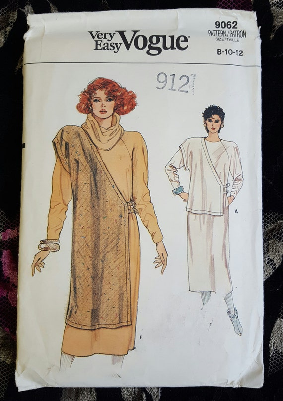 Vintage Very Easy Vogue 9062 Dress & Tabard Sewing Pattern Size ...