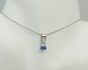 PENDANT 14K White Gold NaturalTanzanite Oval with Diamond accent, Purple Gemstone Pendant,14K White Gold Necklace,Tanzanite PEN14KWTANZOVDIA