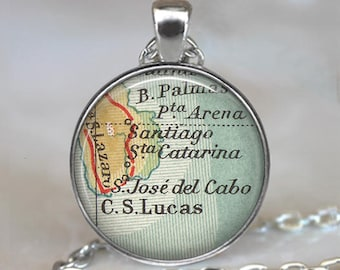 Cabo San Lucas map pendant, San Jose del Cabo map necklace Los Cabos Baja California destination wedding gifts key chain key ring key fob