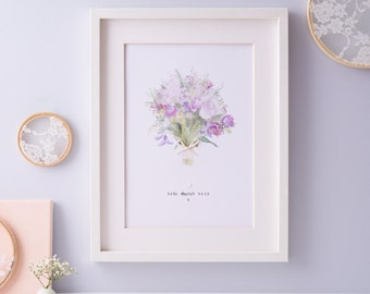 Wedding or Anniversary Gift - Wedding Bouquet - Illustration Bridal Bouquet Art
