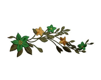 ID 6661 Green Flowers Vine Patch Garden Craft Plant Embroidered Iron On Applique