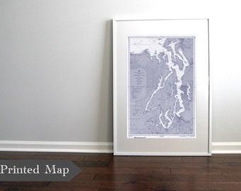 """Puget Sound Washington State Nautical Chart Map Print 1957 Blue  20"""" x 30"""" ART PRINT, Map Art Prints, Nautical Beach Decor, Chart Maps"""