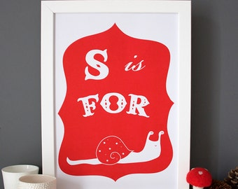S is For Snail Alphabet Print, illustration, risograph, screen print poster