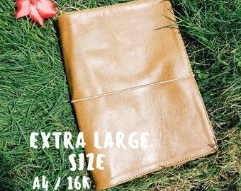 XL LEATHER SKETCHBOOK • journal notebook diary • genuine vintage beige leather cover • workbook planner extra large • moleskine